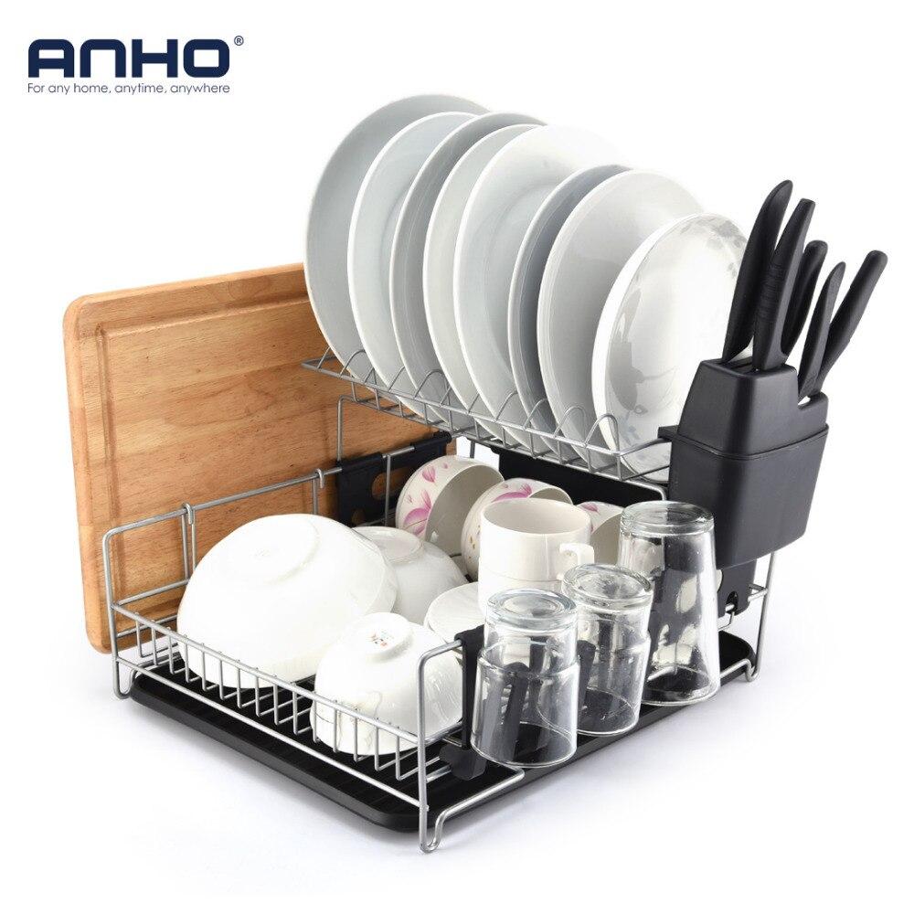 ANHO Multifunctional Dishes Rack 2 Tier Black Dish Drainer Drying Rack Washing Organizer Large Capacity Holder