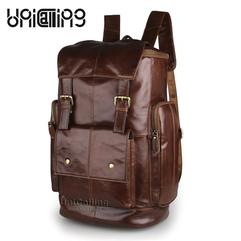 Mens leather backpack large capacity vintage fashion genuine leather backpack for men quality cow leather male backpackMens leather backpack large capacity vintage fashion genuine leather backpack for men quality cow leather male backpack
