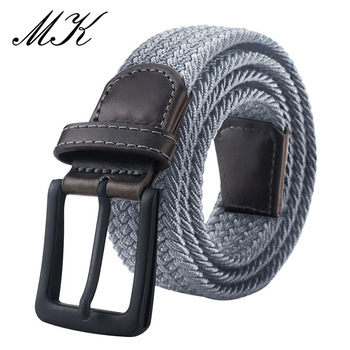 MaiKun Canvas Belts for Men Fashion Metal Pin Buckle Military Tactical Strap Male Elastic Belt for Pants Jeans