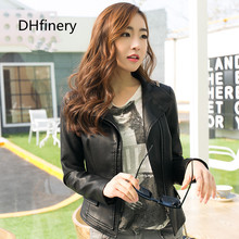 2017 spring new ladies leather Korean PU lady collar short section motorcycle jacket 15H108