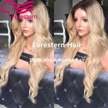 180% Density Two Tone Blonde Human Hair Wig Peruvian Virgin Lace Front Hair Wigs Ombre Blonde Full lace Wigs With Bleach Knots