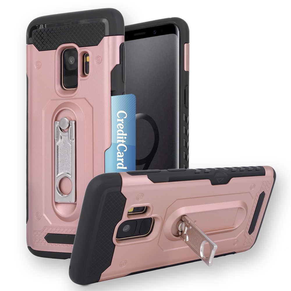 صدمات حامل هاتف غلاف واقي من السيليكون لسامسونج غالاكسي S9 S9plus S 9 زائد SM G965F G960F S9 + 9 زائد 9 s غطاء حامل بطاقة