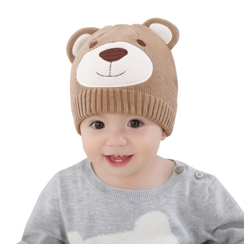 Retail Baby & Kids Girl Boy Fashion Khaki Knitted Cartoon Bear Animal Causal Hats Children 2016 Fall Winter Cotton Beanie Hat