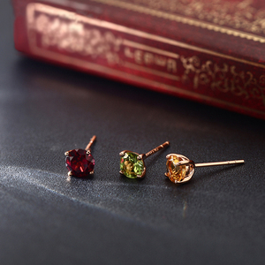 Image 3 - 18k Pure Gold Citrine Garnet Opaz Olivine Amethy Earring Fashion Beautiful Natural Classic Elegant Real 750 Solid Party Women