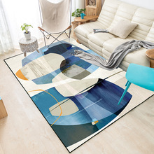 Fashion Nordic style Artistic abstraction blue Color block livingroom carpet bedroom floormat velvet non-slip rug custom made