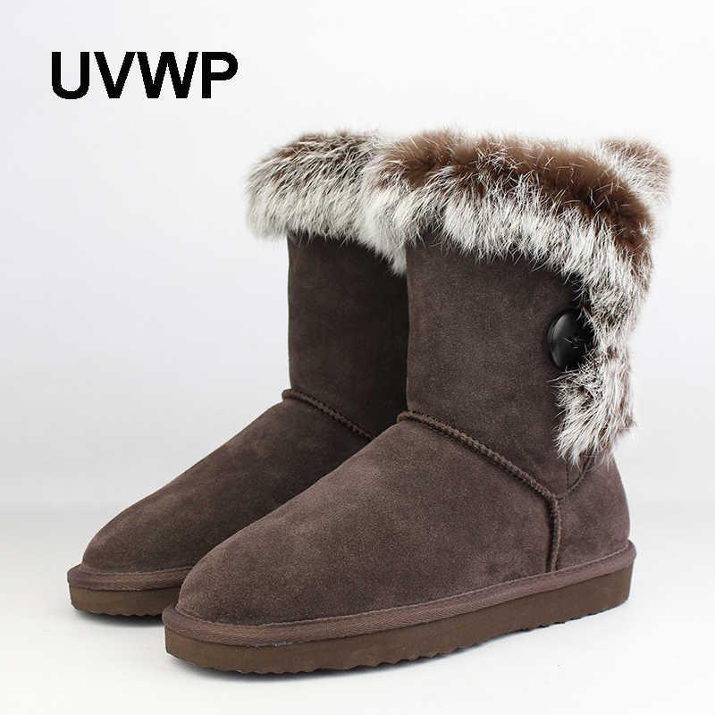 a7cde58d5 UVWP модные женские туфли 100% Зимние сапоги из натуральной кожи натуральный  Зимние ботинки на кроличьем
