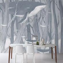 Настенная 3d наклейка на заказ ручная роспись лес Кит украшение