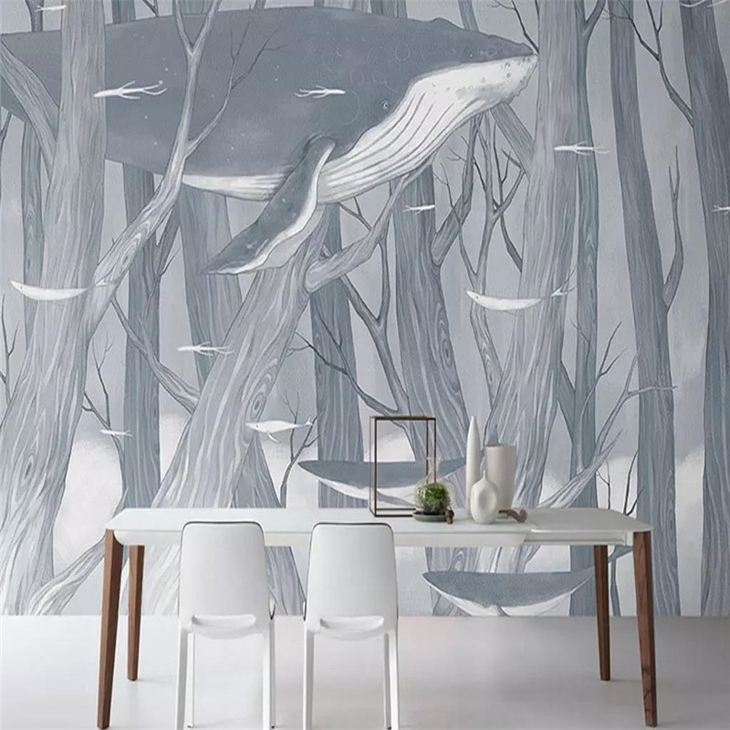 Custom 3D mural hand-painted forest whale living room wall decoration painting wallpaper photo