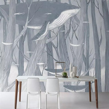 купить Custom 3D mural hand-painted forest whale living room wall decoration painting wallpaper mural photo wallpaper по цене 576.41 рублей