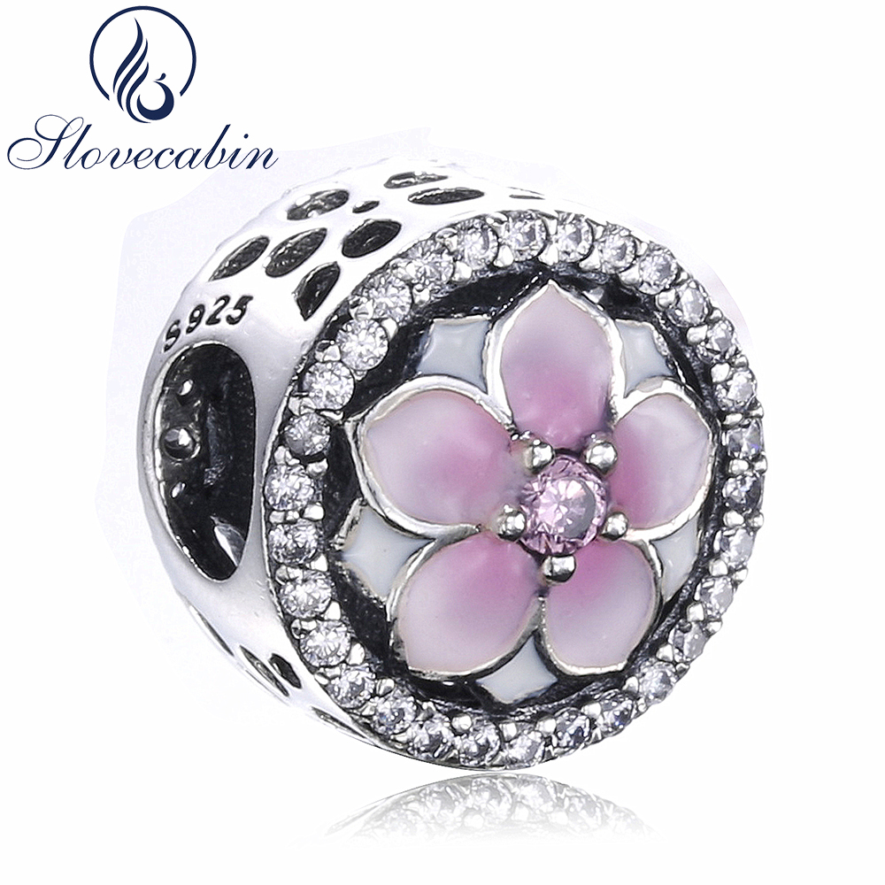 Slovecabin Diy Fit Pandora Bracelet Authentic 925 Sterling Silver Magnolia Bloom Bead Charm With Clear CZ For Women Fine Jewelry
