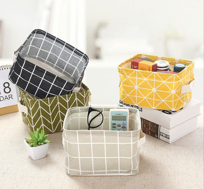 Printing Cotton Linen Desktop Storage Organizer Sundries Storage Box Cabinet Underwear Storage Basket Fast Shipping