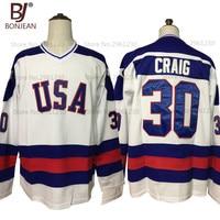 Nueva barato ee.uu. equipo hielo Hockey Jersey 1980 Miracle on ICE equipo ee.uu. 30 # Jim Craig cosido invierno deporte desgaste blanco azul