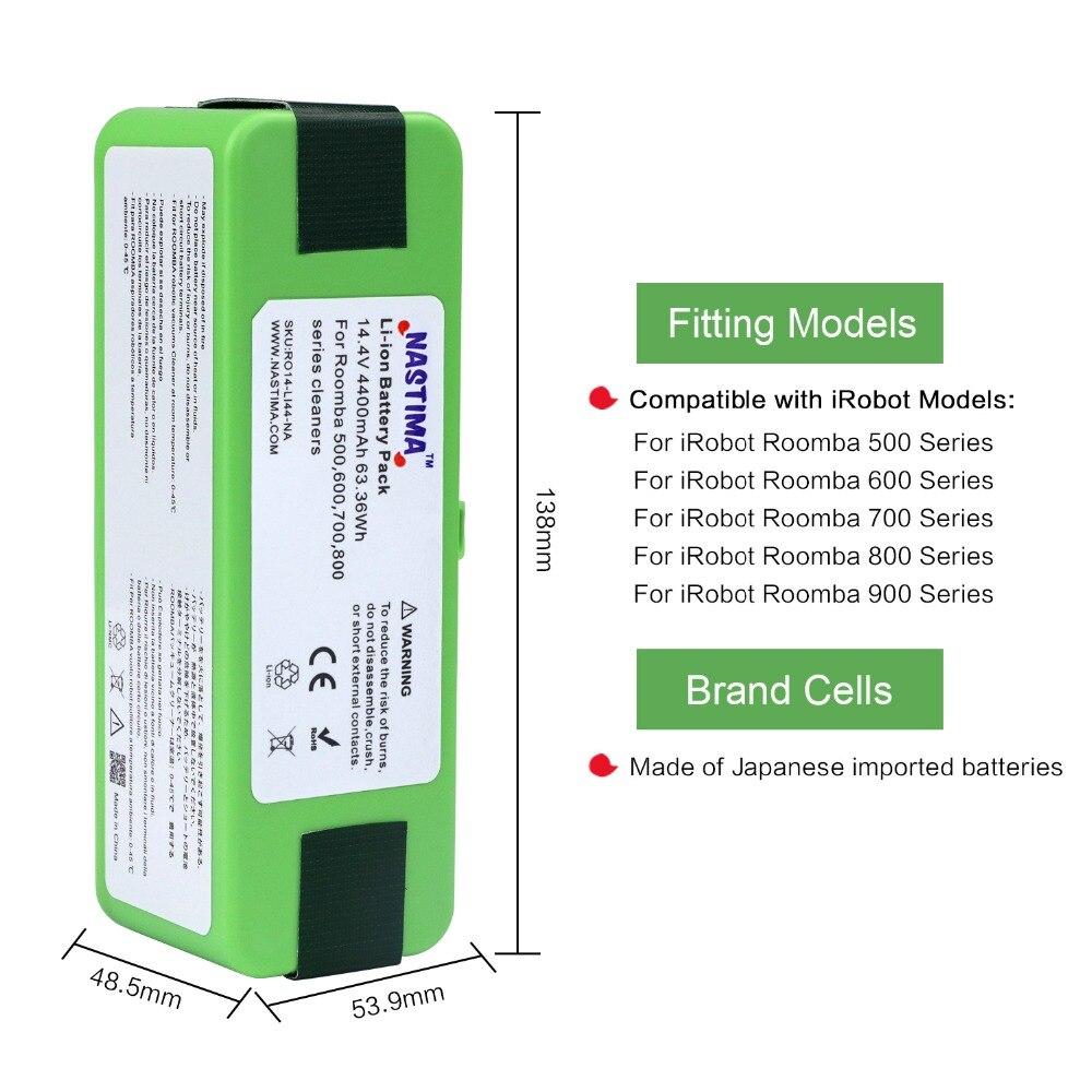 4400 mAh batterie li-ion compatible avec iRobot Roomba R3 500 600 700 800 900 Série 500 550 560 620 650 690 760 770 780 870 900 - 2