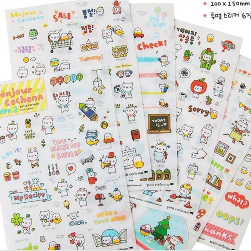 Kawaii Stickers Scrapbooking diary decor Stickers 6 Sheets Moto car suitcase laptop PVC stick Scrapbook stationery Kids Gift
