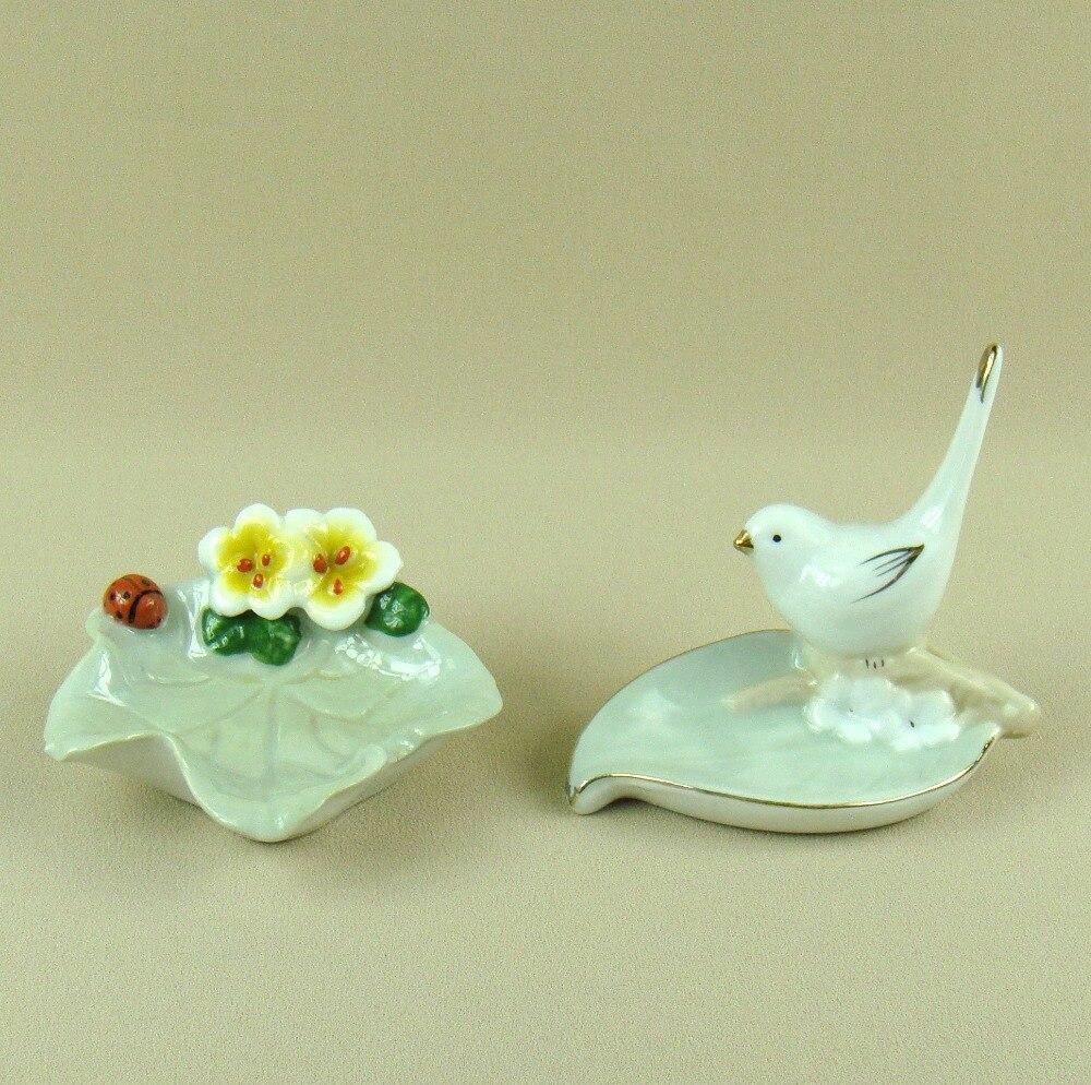 Porcelain Bird Jewellery Organizing Dish Decorative Ceramics Leaf and Flower Jewelry Holder Ornament Trinket Craft Accessories