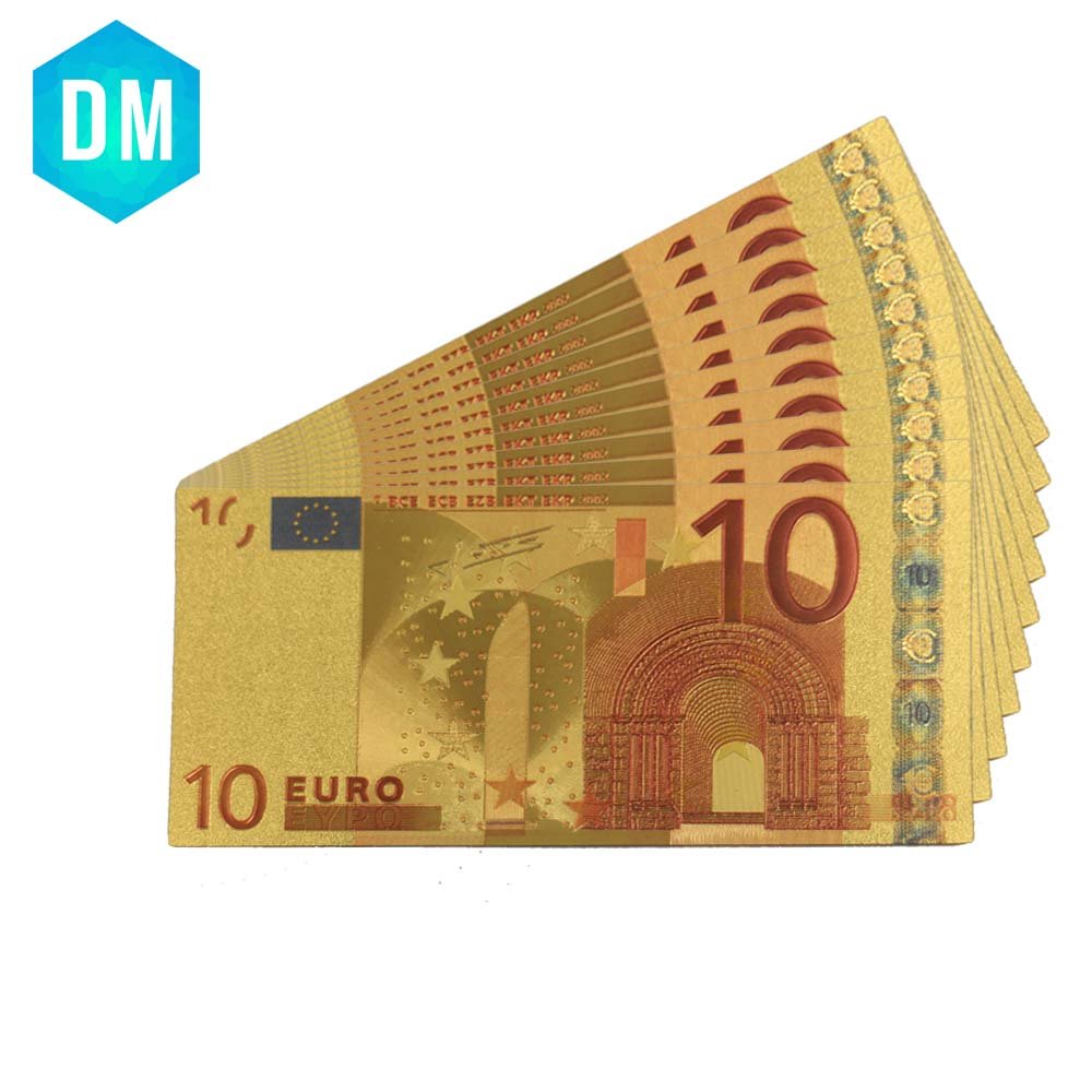 10pcs/lot 24k Gold Foil Plated 10 Euro Bank Notes In Colors, Gold Banknotes Paper Money Wedding Return Gift