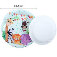 10Pcs\Lot 9inch Plate Jungle Animal Theme Disposable Tableware Birthday Party Decorations adult Baby Shower Supplies