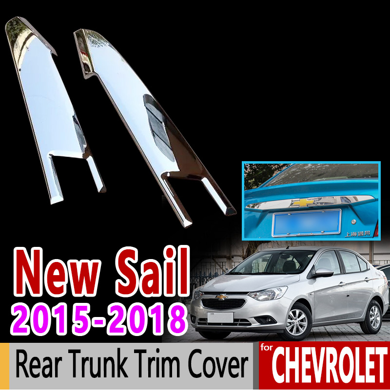 For Chevrolet New Sail High Quality Chrome Rear Trunk Trim Cover 2015 2016 2017 2018 Sail 3 Accessories Car Styling Stickers