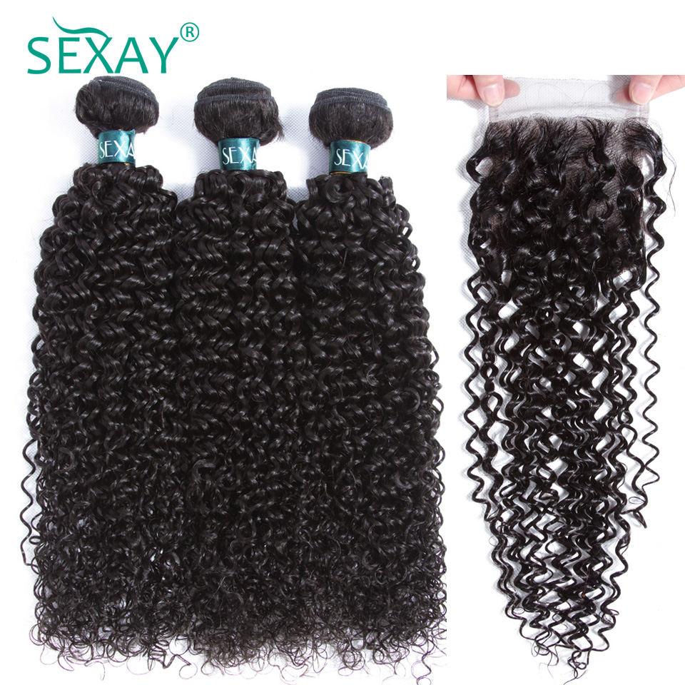Kinky curly hair bundles with closure Sexay Malaysian remy human hair 3 bundles with closure natural