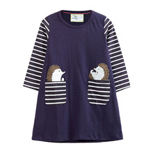 Girls Cotton Long Sleeve Casual Cartoon Hedgehog Appliques Striped Children Dresses toddler dress kids clothes