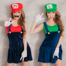 Video Game Cosplay Super Mario Bros Cosplay Costume Mario Sisters Sexy Girls Mini Dress Halloween Costumes for Women