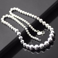 2017 retro jewelry exquisite 925 silver beads necklace modern domineering necklace for women charm necklace(China)