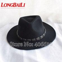 Модные зимние кожаные мужские широкие черные шерстяные фетровые шляпы федоры Chapeu Masculino SDDW012