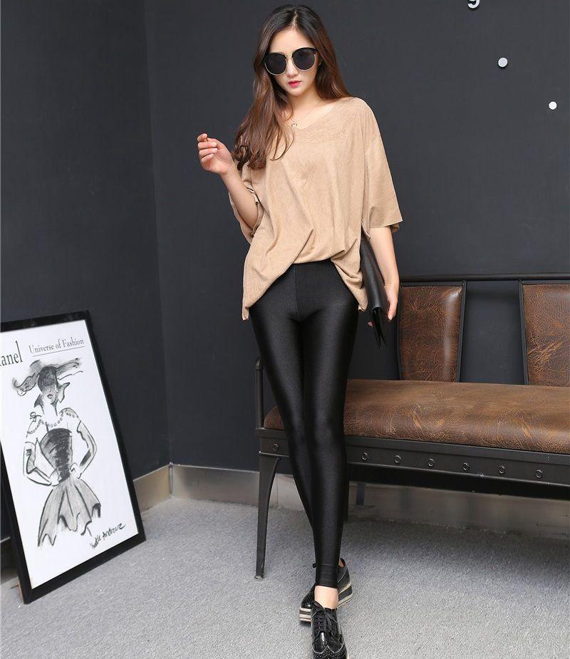99c1e519e00fe 2018 lady push up slim leggings fashion new style hot shine legging girl  black leggings summer
