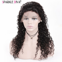 Sparkle Diva Mongolian Remy Human Hair Full Lace Wig 10 24 Inch Customized Length Wig Full Swiss Lace Deep Wave Hair No Tangle