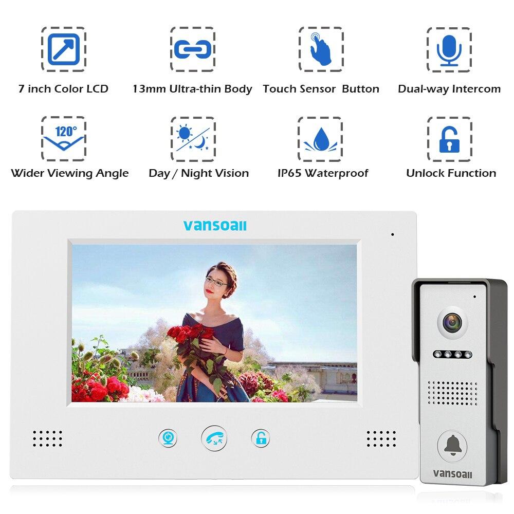Système d'interphone vidéo filaire VANSOALL avec sonnette et moniteur couleur de 7 pouces et caméra HD avec ouverture de porte, bouton tactile - 2
