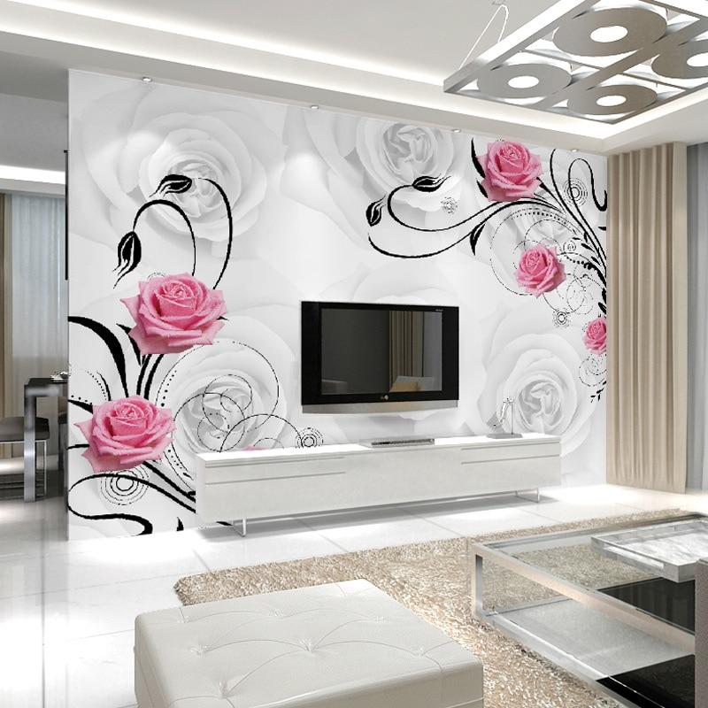 Custom Photo Wallpaper Large 3D Living Room Bedroom Sofa TV Background Wallpaper Mural Rose Flowers 3D Wall Mural Wallpaper