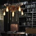 Engrenagem Pingente Luzes de Suspensão Da Lâmpada Do Vintage Art Deco Loft American Industrial Luzes de Suspensão de Ferro Forjado