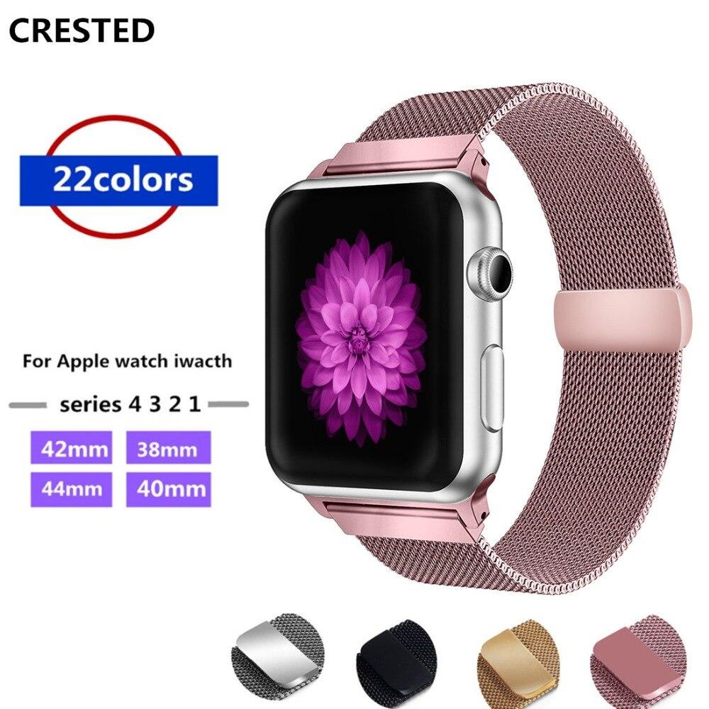 bc88e157f60 CRISTA faixa de Relógio Milanese Laço Para Apple 4 42mm 44mm cinta iwatch 3  38mm 40mm aço inoxidável relógio de pulso banda cinto série 2 1