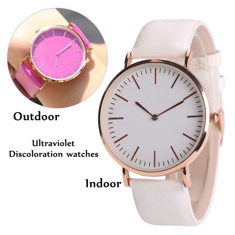 Fashion Brand Simple Watches Women Discolor Watch Ladies Luxury Quartz Wristwatches Relogio Feminino (Change Color In The Sun) onlyou brand luxury fashion watches women men quartz watch high quality stainless steel wristwatches ladies dress watch 8892