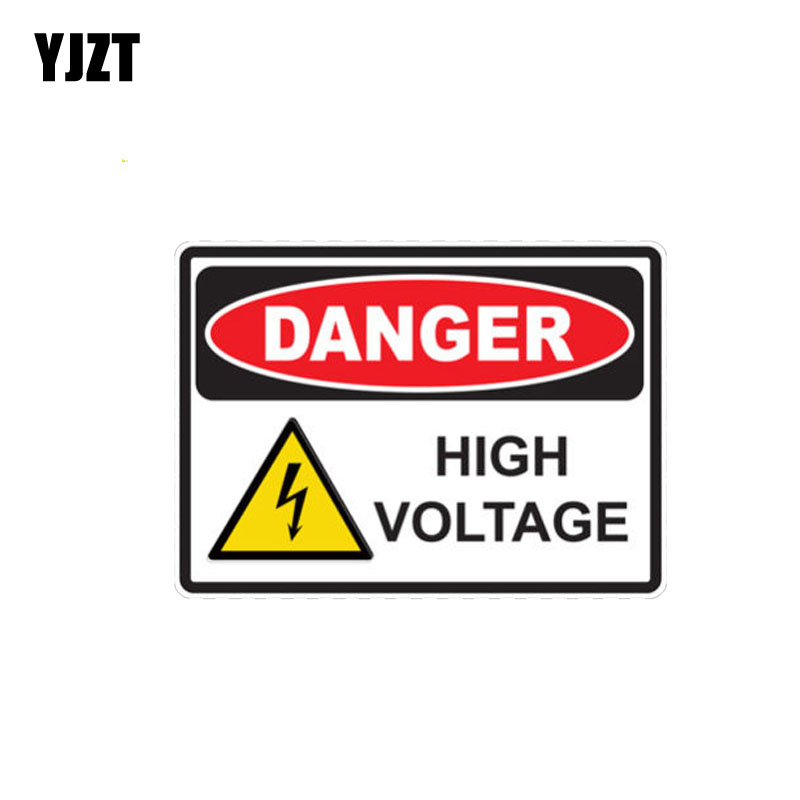 YJZT 13.9CM*10CM Car Sticker Danger High Voltage Creative Funny PVC Decal 12-0391
