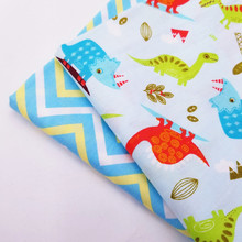 Childish Style Printing Cotton Twill Fabric Cute Animal Printed Blue Series Patchwork Cloth Craft Home Textile DIY Sewing