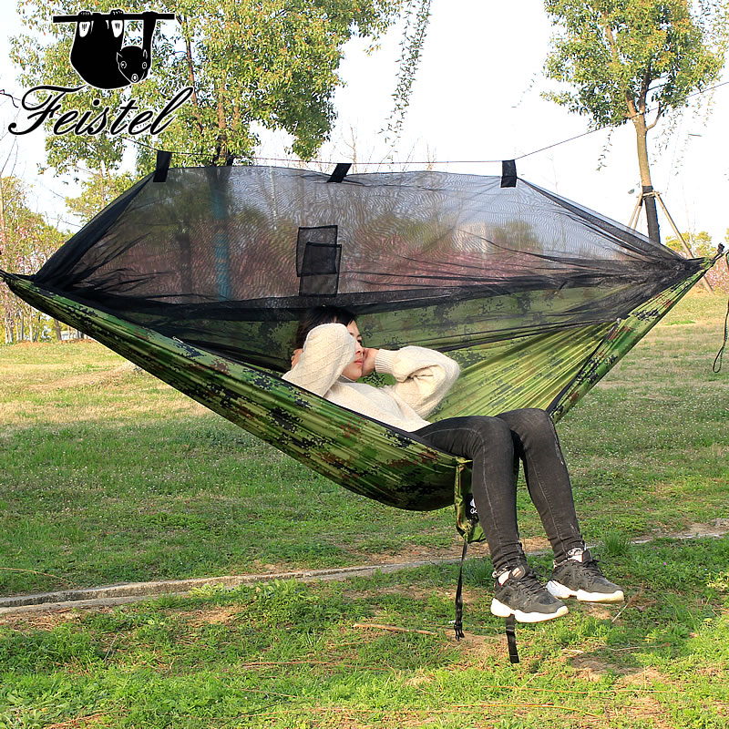 Portable Ultralight Parachute Hammock Hunting Mosquito Net Automatic Opening Hammock