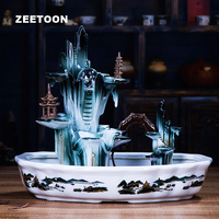 110V 240V Ceramics Iceberg Rockery Water Fountain Atomizer Tabletop Fish Tank Feng Shui Ornament Lucky Crystal Ball Home Decor