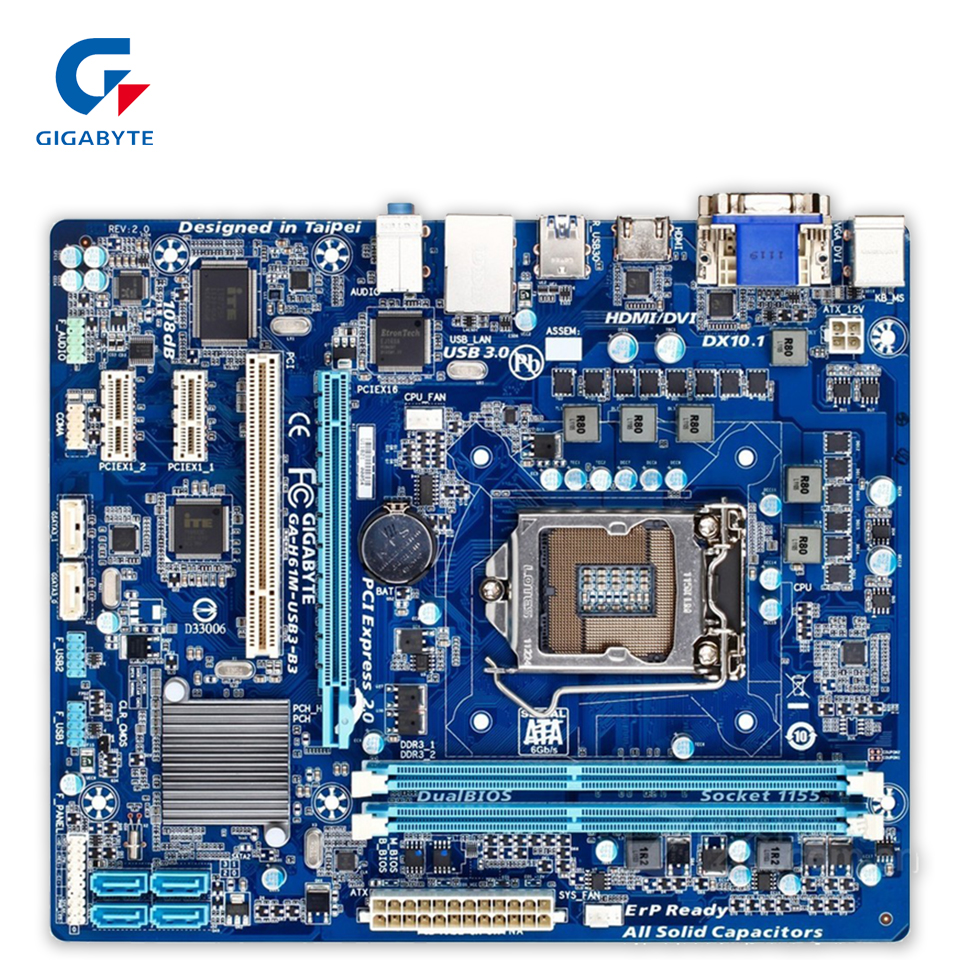 Gigabyte GA-H61M-USB3-B3 Original Used Desktop Motherboard H61M-USB3-B3 H61 LGA 1155 i3 i5 i7 DDR3 16G original motherboard for gigabyte ga h61m s2 b3 lga 1155 ddr3 h61m s2 b3 all solid 16gb h61 desktop motherboard free shipping