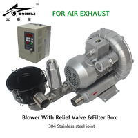 High Pressure Ring Blower air extraction wtih Relief Valve&filter box Variable frequency Drive stepless RPM regulating