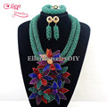 2016 Latest Nigerian Crystal Beads Necklaces Wedding African Beads Jewelry Set African Costume necklace Set earrings  W12894