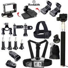 Zookkbb Camera Accessories Kit Head strap Chest strap Monopod Bike Handlebar Holder 360 Rotary Quick Clip for Gopro Hero4 3+ 3 2