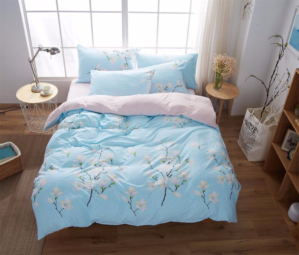Printed Floral Bedding Set Printing Cover Bed Sheets For Home Hotel Wedding  Soft Cotton Pastoral Style Duvet Cover 4PCS Blue In Bedding Sets From Home  ...
