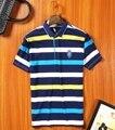 2017 de alta calidad de la marca de los hombres camisa de polo nuevo verano de rayas informal algodón de los hombres del polo camisa de polo polo sólido ralp hombres más el tamaño grande