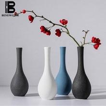 Zen Ceremony Ceramic Coarse Pottery Flower Vase White Blue Black Glazed Aroma Essential Oil Bottle Hydroponics Holder Home Decor