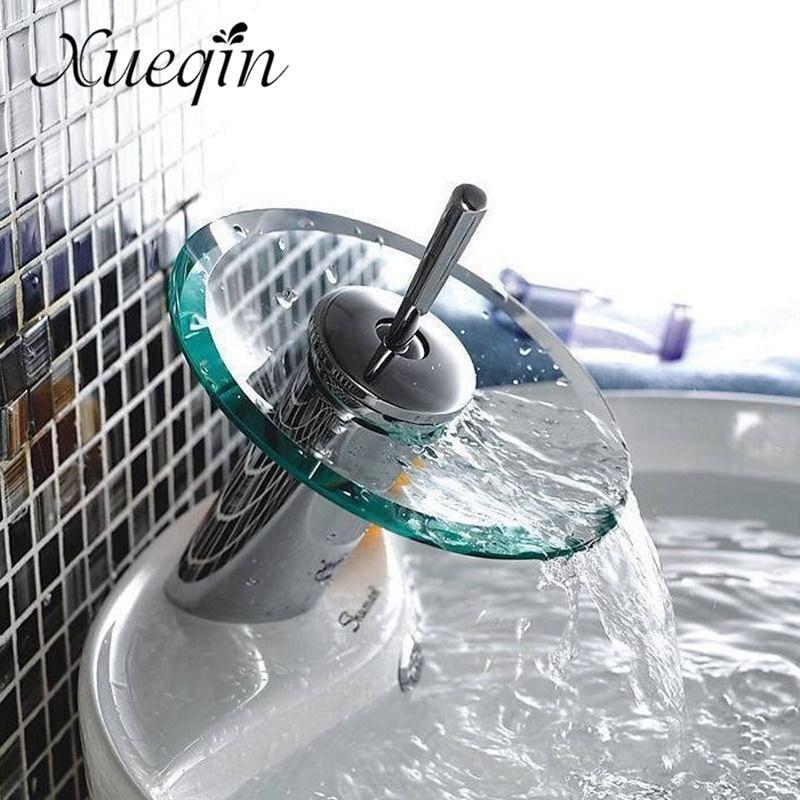 Bad Wasserfall Becken Waschbecken Mischbatterie Wasserhahn Chrom Poliert Glas Rand Wasserhahn Wasserhahn Mit Wasser Einlass Rohr
