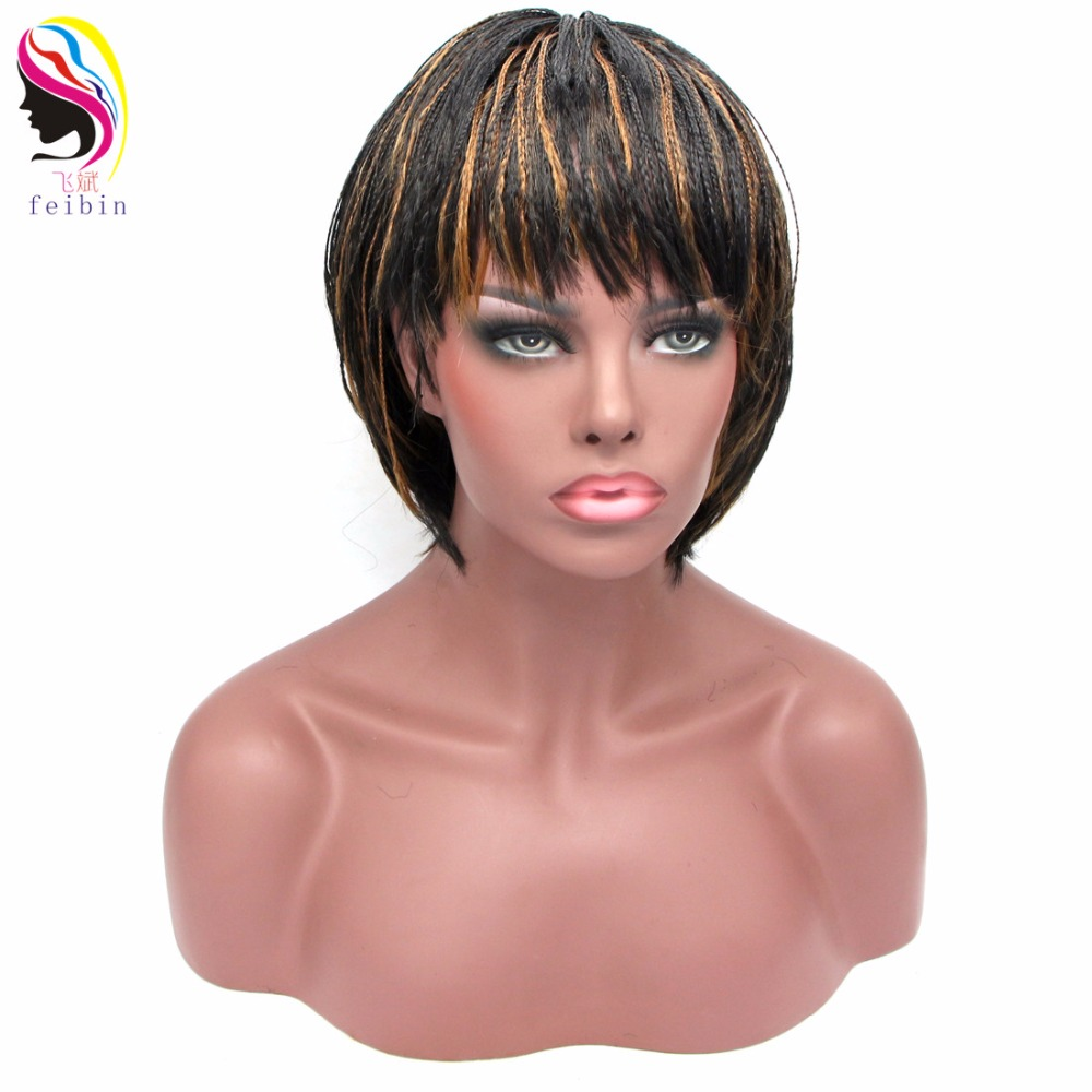 Feibin Short Braid Wig For Black Women African Braiding Hair Synthetic Senegalese Free Shipping