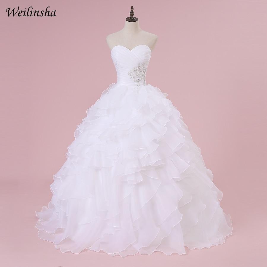 Weilinsha In Stock Corset Wedding Dress Sweetheart Sleeveless Ball Gown Ruffles Organza Bridal Wedding Gowns Robe