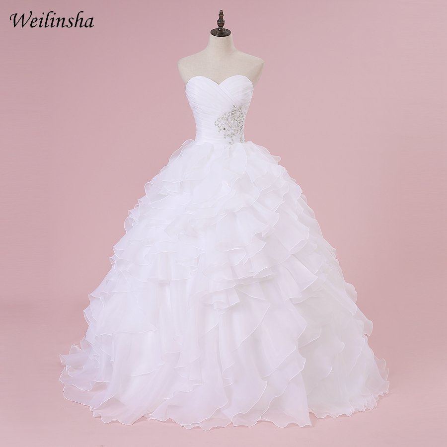 Weilinsha In Stock Corset Wedding Dress Sweetheart Sleeveless Ball Gown Ruffles Organza Bridal Wedding Gowns Robe De Mariage