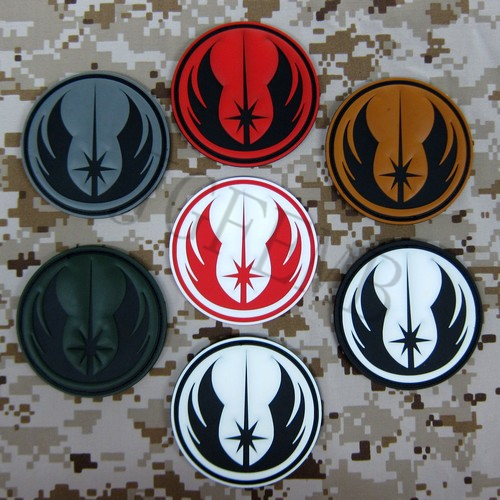 Jedi Knight Military Tactical Morale 3D PVC patch Odznaki Czarny Czerwony Zielony Szary Tan Luminous
